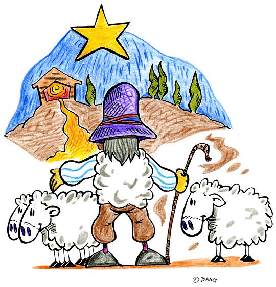 Dessin de Noël Douce Nuit, le berger rentre ses moutons, catégorie Chanson de Noël Douce Nuit Sainte nuit