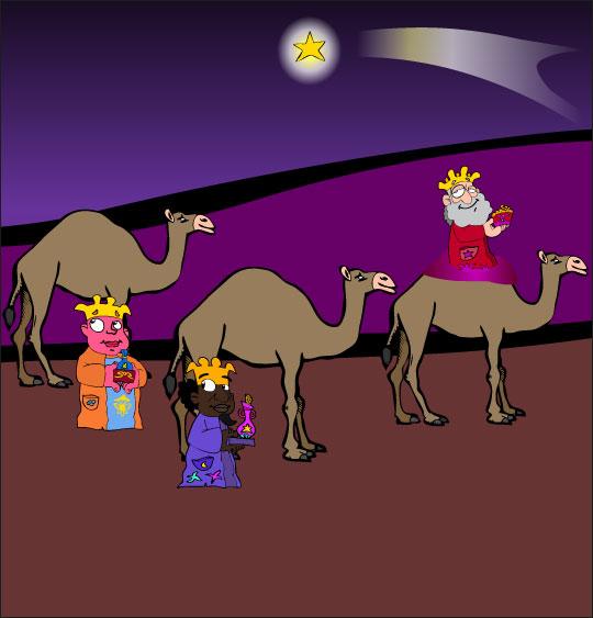 Dessin chanson de Noël Il est né le divin enfant, les rois mages, thème Dromadaire