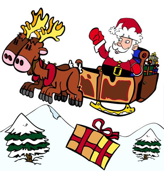 Dessin de Noël Jingle Bells Le père Noël sur son traineau, catégorie Chanson de Noël Jingle Bells