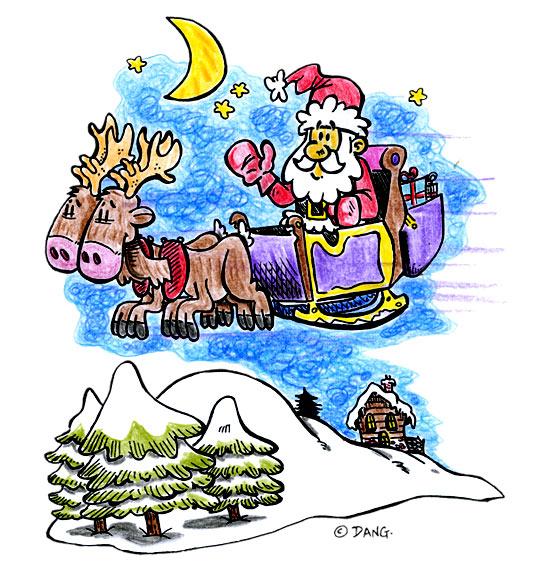 Dessin de Noël Jingle Bells Le père Noël vole dans le ciel, catégorie Chanson de Noël Petit Papa Noël