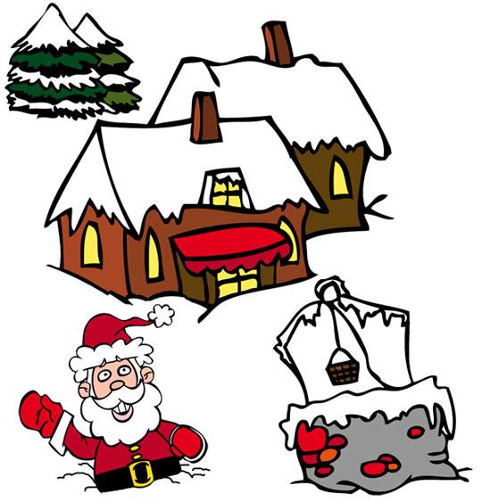 Dessin de Noël Jingle Bells, Père Noël est enfoncé dans la neige, catégorie Chanson de Noël Jingle Bells