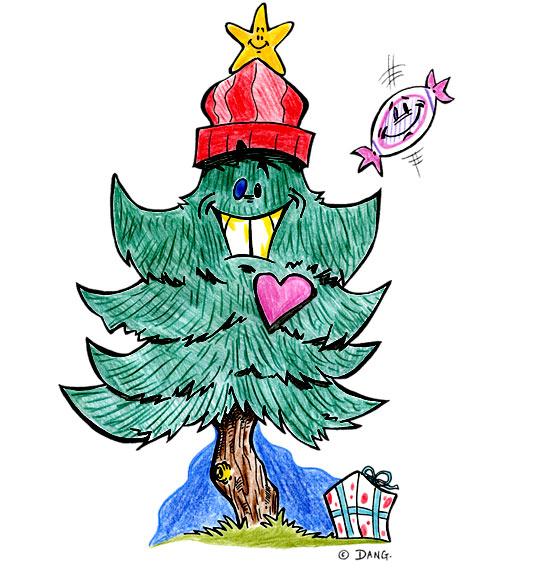 Dessin de Noël Mon beau sapin avec un chapeau rouge, catégorie Chanson de Noël Mon beau Sapin