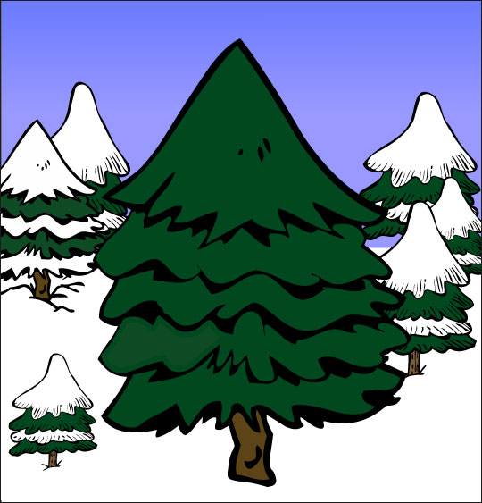 Dessin de Noël Mon beau sapin, le sapin au milieu de la forêt, catégorie Chansons de Noël pour les enfants