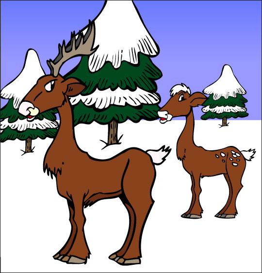 Dessin de Noël Mon beau sapin les chevreuils dans la neige, catégorie Chansons de Noël pour les enfants