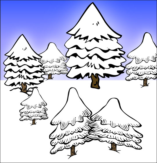 Dessin de Noël Mon beau sapin, sept sapins dans la neige, catégorie Chanson de Noël Mon beau Sapin