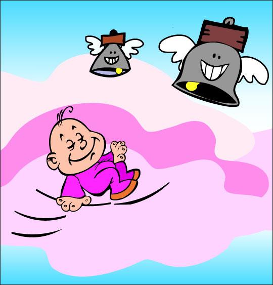 Dessin chanson Frère Jacques, le bébé dort dans les nuages, thème Cloche