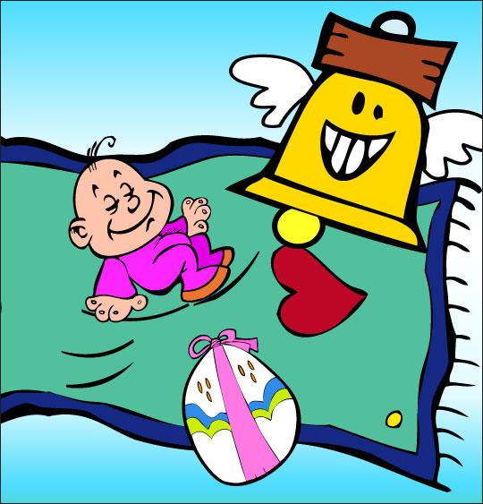 Dessin chanson Frère Jacques, le bébé Jacques dort sur un tapis volant, thème Cloche