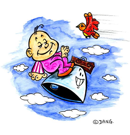Dessin Frère Jacques, le bébé sur une cloche, catégorie Chanson pour enfants Frère Jacques