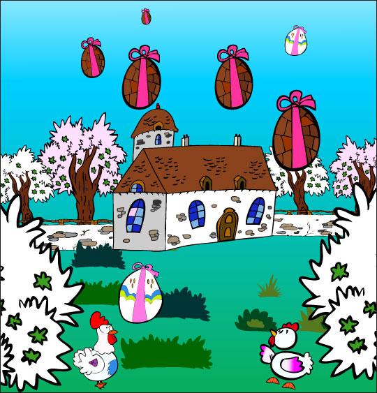 Dessin chanson Frère Jacques, les oeufs tombent dans le jardin, catégorie Chanson pour enfants Frère Jacques