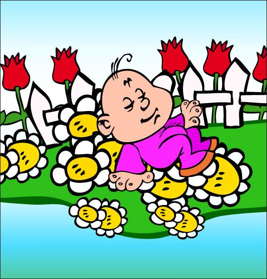 Dessin chanson Frère Jacques, petit frère dort dans le jardin, catégorie Chanson pour enfants Frère Jacques