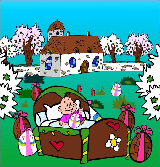 Dessin chanson Frère Jacques, petit frère dort dans un lit dans le jardin, thème Pâques