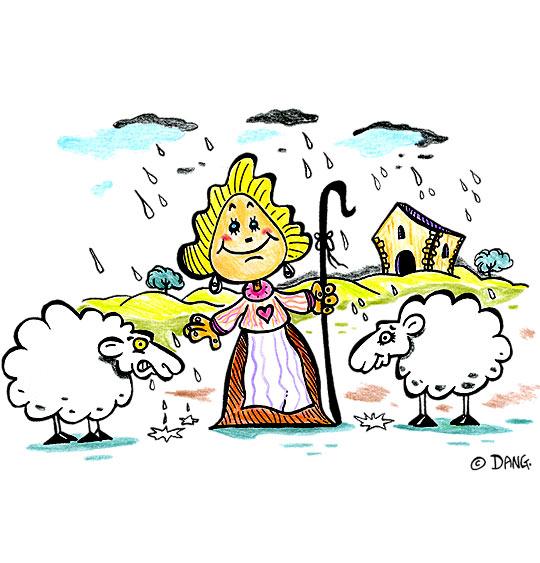 Dessin Il pleut Bergère, la bergère et deux moutons, catégorie Chanson pour enfants Il pleut, il pleut Bergère