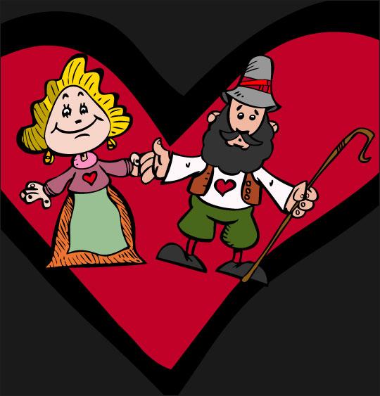 Dessin Il pleut Bergère, le berger et la bergère sont amoureux, thème Coeur