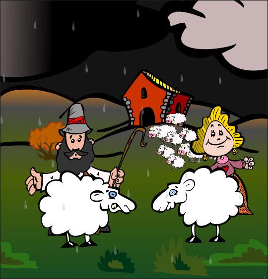 Dessin Il pleut Bergère, le berger, la bergère et deux moutons, thème Maisons