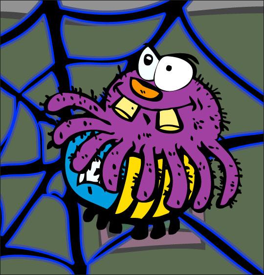 Dessin chanson L'araignée, l'araignée attrape le frelon, catégorie Chanson pour enfants L'araignée