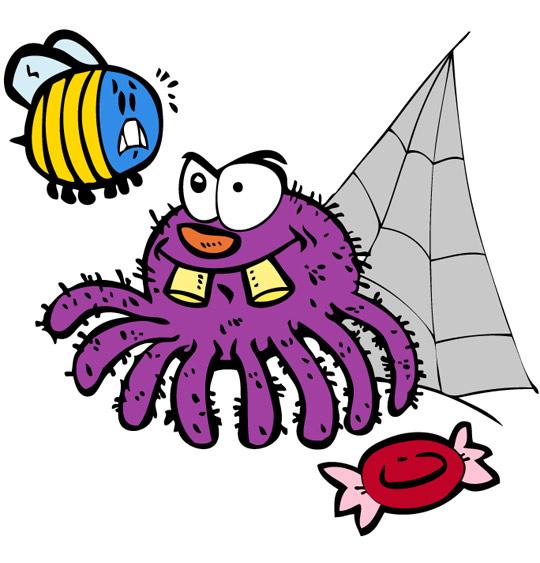 Dessin L'araignée, l'araignée et le frelon, thème Araignée