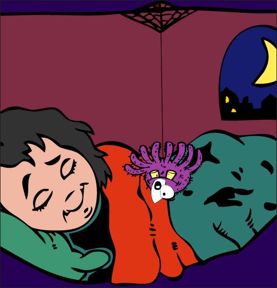 Dessin chanson L'araignée, l'araignée s'approche du lit, thème Toile