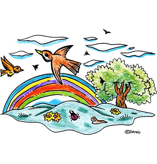 Dessin  L'Orage, l'arc en ciel, catégorie Chanson pour enfants L'Orage