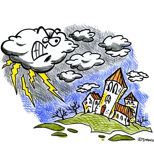 Dessin  L'Orage, l'orage en colère gronde, catégorie Chanson pour enfants L'Orage