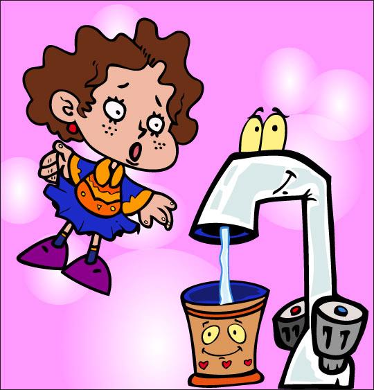 Dessin La Brosse à Dents, l'eau coule dans le gobelet, catégorie Chanson pour enfants La Brosse à Dents