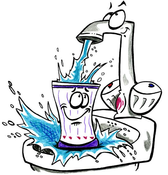 Dessin La Brosse à Dents, l'eau s'échappe du robinet, catégorie Chanson pour enfants La Brosse à Dents