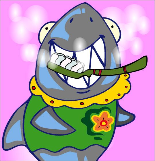 Dessin La Brosse à Dents, le requin se brosse les dents, thème Requin
