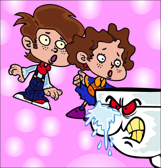 Dessin La Brosse à Dents, qui a craché sur le nez du lavabo, catégorie Chanson pour enfants La Brosse à Dents