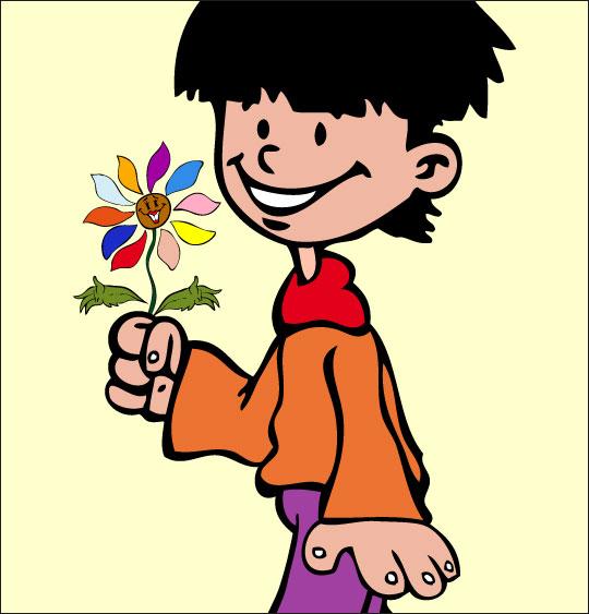 Dessin La Fleur de toutes les Couleurs, je t'offre cette fleur, catégorie Chanson fête des mères La Fleur de toutes les Couleurs