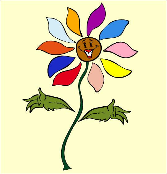 Dessin La Fleur de toutes les Couleurs, la fleur, catégorie Chanson fête des mères La Fleur de toutes les Couleurs