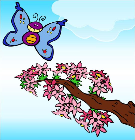 Dessin La Fleur de toutes les Couleurs, le papillon, catégorie Chanson fête des mères La Fleur de toutes les Couleurs
