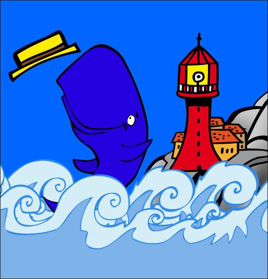 Dessin chanson La Java du Cachalot, Jo joue près du phare, catégorie Chanson pour enfants La Java du Cachalot