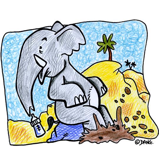 Dessin La Marche des Éléphants, bébé éléphant patauge dans la boue, catégorie Chanson pour enfants La Marche des Éléphants