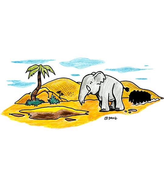 Dessin La Marche des Éléphants, les éléphants se suivent, thème Eléphant