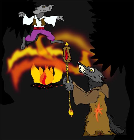 Dessin La Valse des Loups, le loup danseur et le vieux loup, catégorie Conte La Valse des Loups
