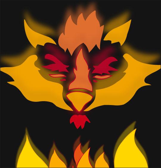 Dessin La Valse des Loups, le masque de loup enflammé, thème Loups