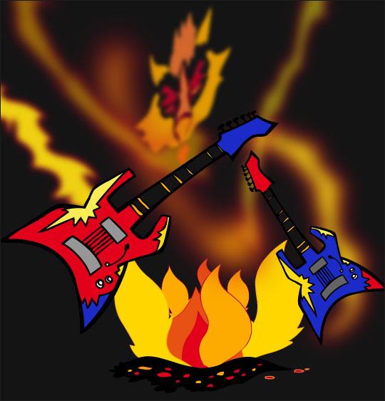 Dessin La Valse des Loups, les guitares dansent avec le feu, thème Feu