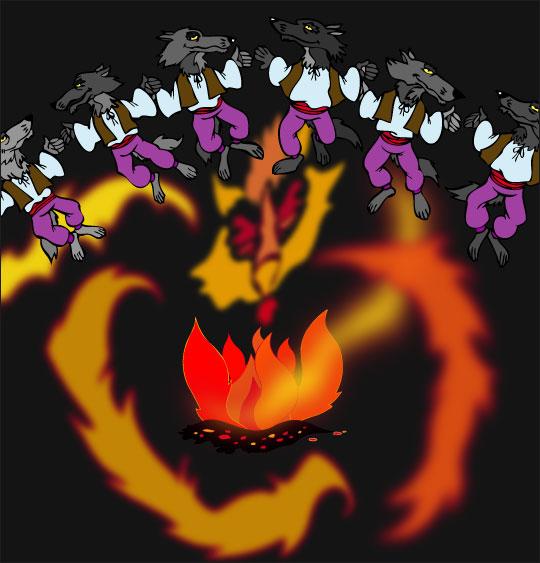 Dessin La Valse des Loups, ronde de loups autour du feu, thème Loups