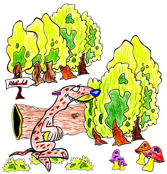 Dessin le furet qui court dans la forêt, catégorie Chanson pour enfants Le furet