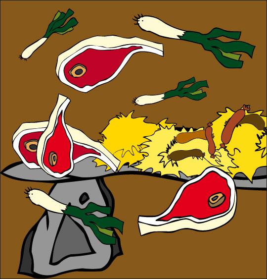 Dessin Le Loup Sympa, côte de boeuf, choucroute, poireaux, thème Légumes