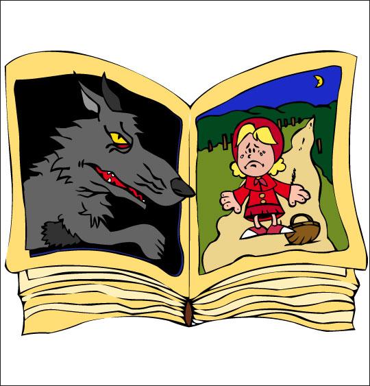 Dessin Le Loup Sympa, le livre du chaperon rouge, catégorie Chanson pour enfants Le Loup Sympa