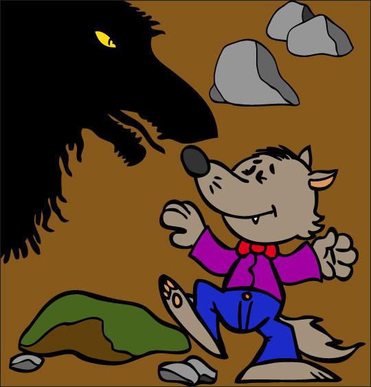 Dessin Le Loup Sympa, petit loup combat la peur, catégorie Chanson pour enfants Le Loup Sympa