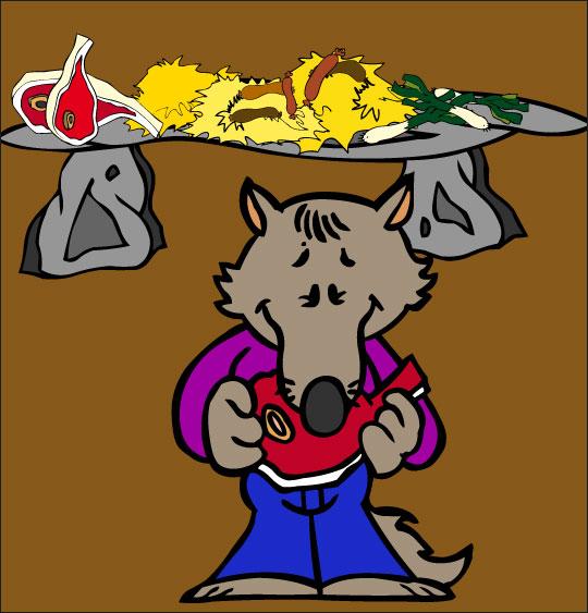 Dessin Le Loup Sympa, petit loup mange de la viande, catégorie Chanson pour enfants Le Loup Sympa