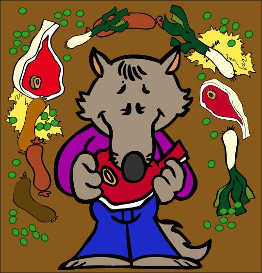 Dessin Le Loup Sympa, petit loup mange une côte de boeuf, thème Légumes