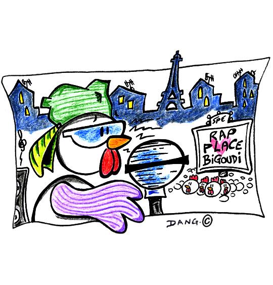 Dessin Le Rap du Poulailler, la poule chante à Paris, catégorie Chanson pour enfants Le Rap du Poulailler