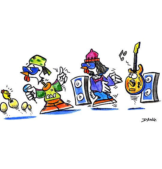 Dessin Le Rap du Poulailler, le groupe de rap, catégorie Chanson pour enfants Le Rap du Poulailler