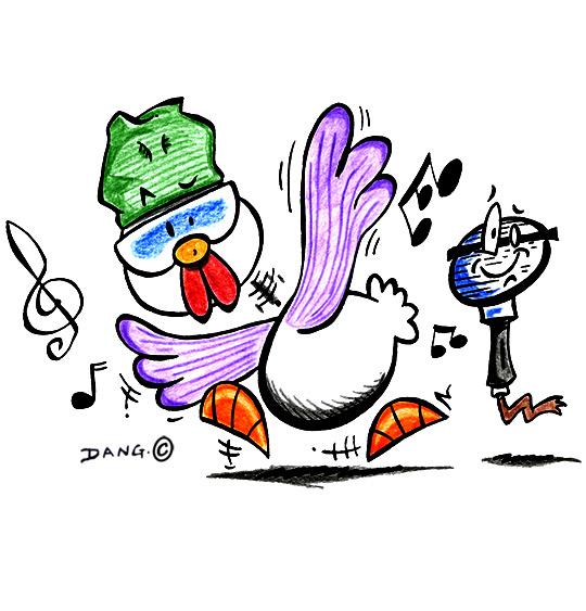 Dessin Le Rap du Poulailler, Le Rap du Poulailler, une poule qui danse, catégorie Chanson pour enfants Le Rap du Poulailler