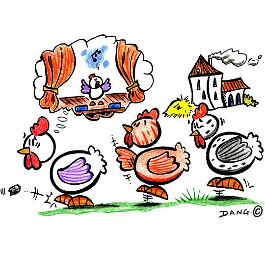 Dessin Le Rap du Poulailler, une poule rêve d'aller à l'opéra, catégorie Chanson pour enfants Le Rap du Poulailler