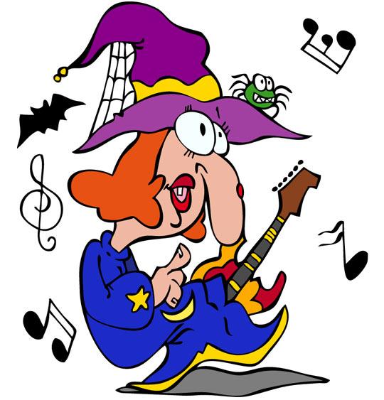 Dessin Le Rock de la sorcière, la sorcière avec sa guitare électrique, catégorie Vacances de la Toussaint avec les enfants, une rubrique Stéphyprod