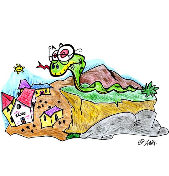 Dessin Le serpent sur la colline observe le village, catégorie Chanson pour enfants Le Serpent