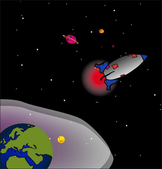 Dessin chanson Madame Fusée, la fusée est dans l'espace, catégorie Chanson pour enfants Madame Fusée